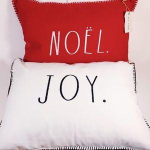 Rae Dunn 2 Christmas Accent Pillows NOEL & JOY